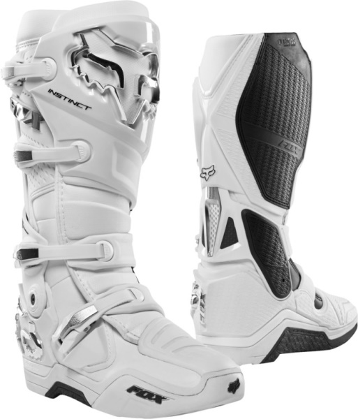 boty Fox Racing Instinct white/silver 10